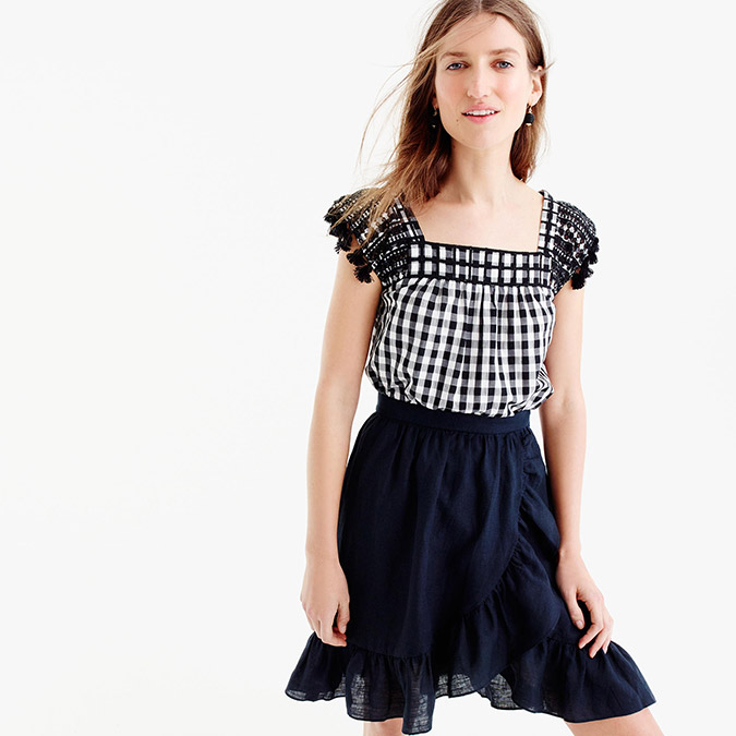 J.Crew Embroidered Gingham Top