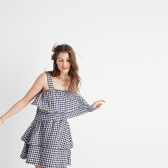 Madewell Gingham Tier Top and Gingham Tier Mini Skirt