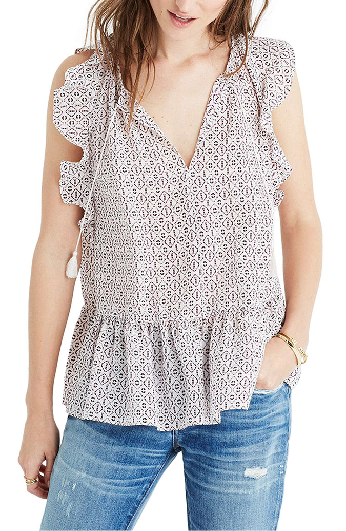 Madewell Lily Ruffle Silk Blouse