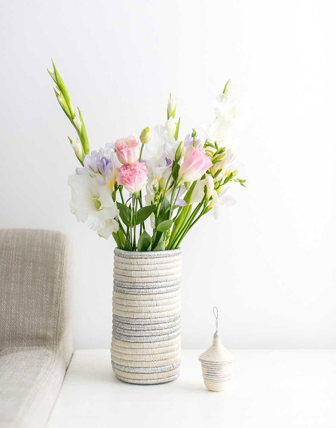 The Little Market Striped Woven Vase in Silver