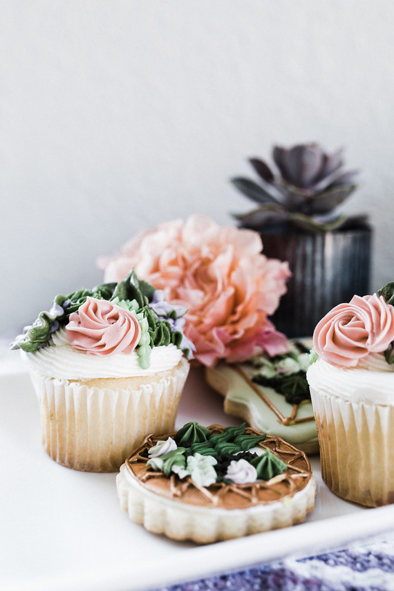 Succulent Cupcakes and Cookies by Doughgirl Bakery via 100 Layer Cake