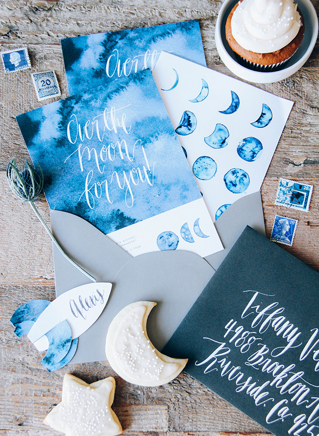 "Favorite Party Theme: this indigo ""Over the Moon"" baby shower via Inspired by This"