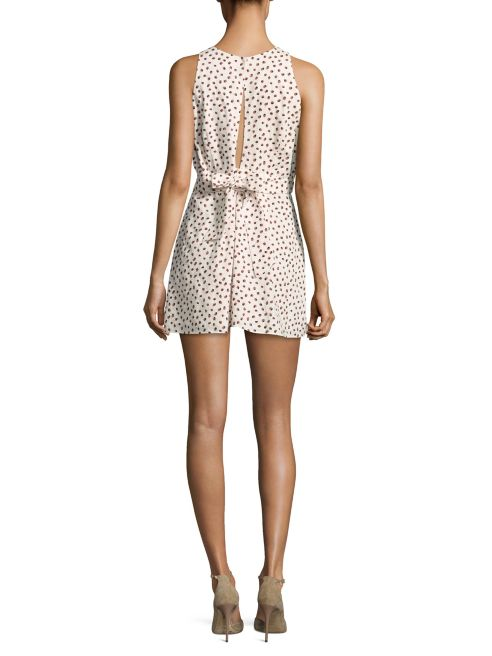 Paper Crown Dotted Pleat Front Romper in Rose Dot