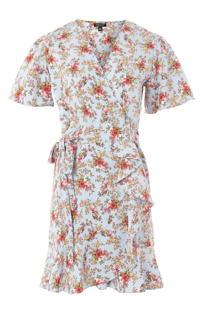 Topshop Confetti Floral Wrap Tea Dress