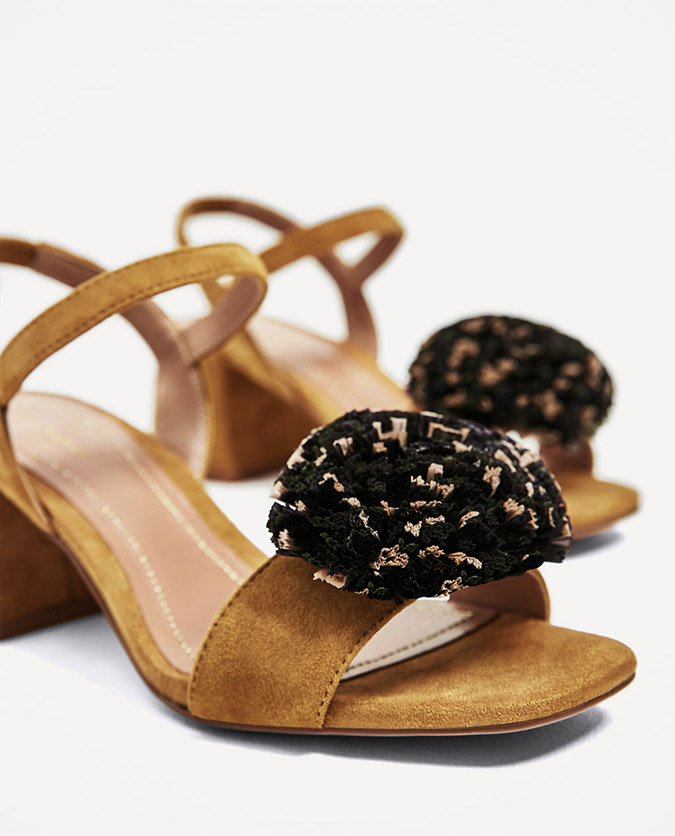 Zara Leather Sandals with Raffia Pompom