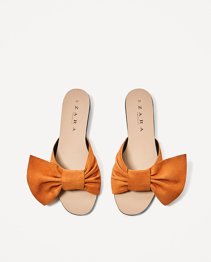 Zara Split Suede Slides with Bow