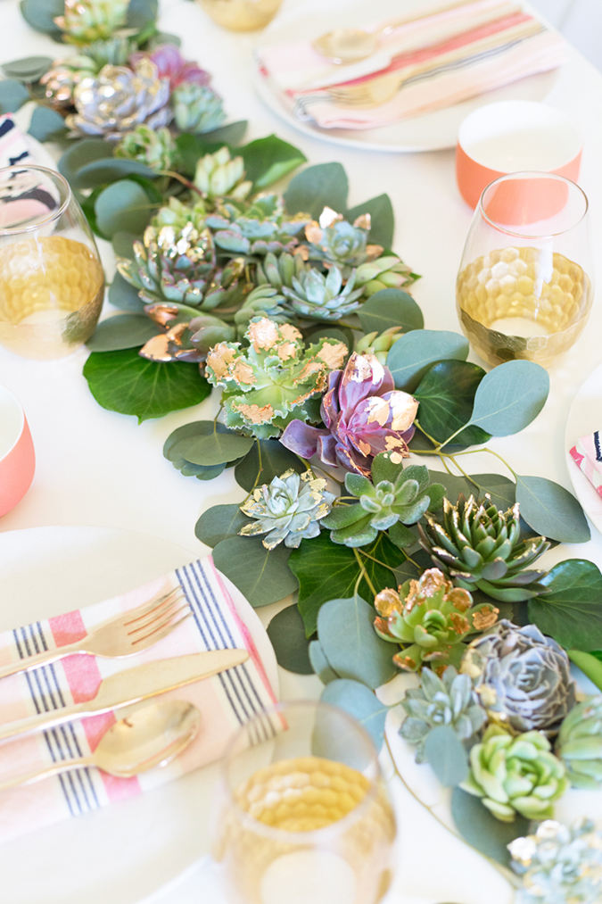 DIY gilded succulent runner via Lovely Indeed