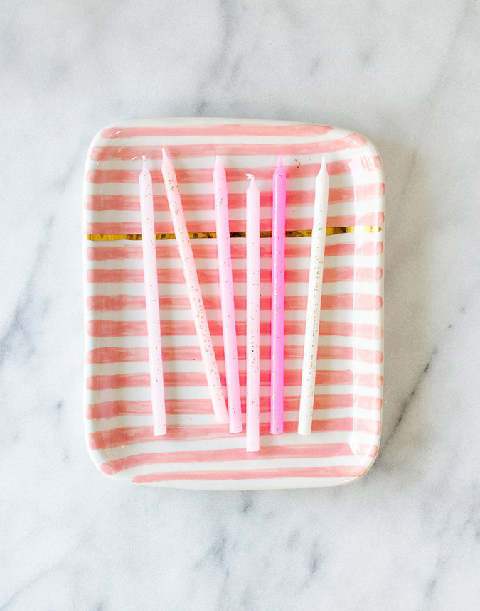 The Little Market striped ceramic tray
