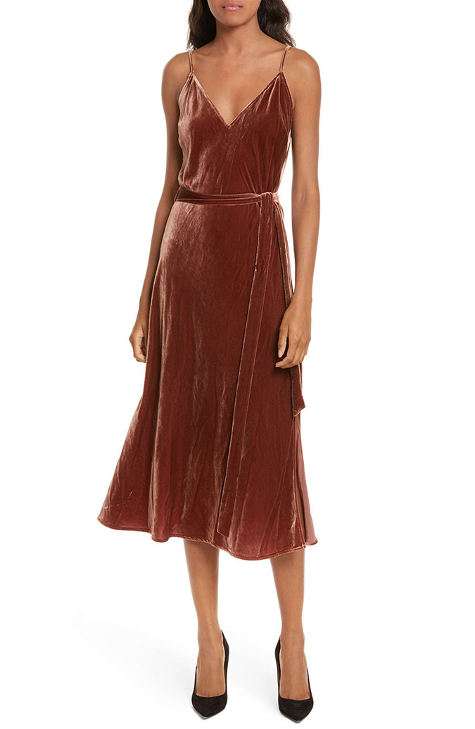 Frame velvet midi slip dress
