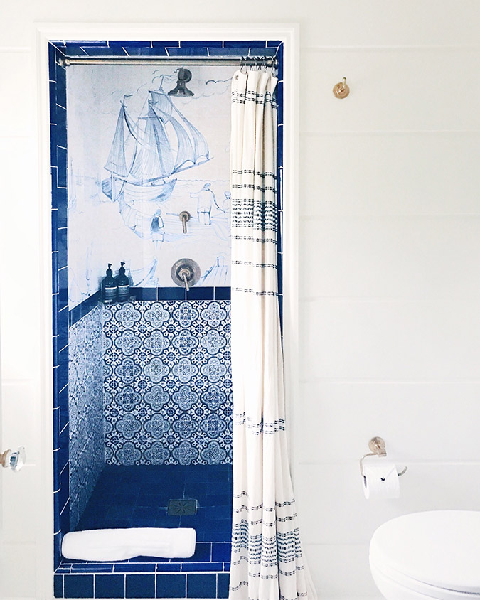 blue tiled shower at Greydon House, Nantucket