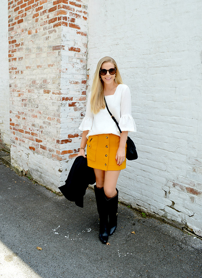 fall statement sleeves on Anna James of Fash Boulevard
