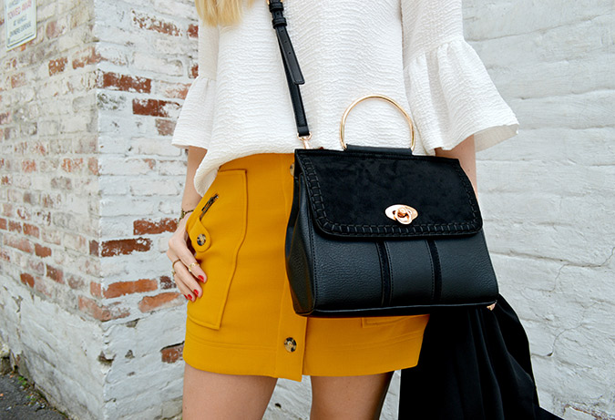 statement sleeves and LC Lauren Conrad handbag