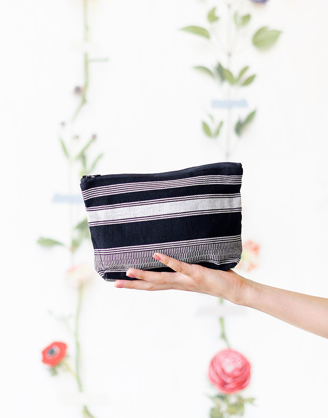 The Little Market striped cosmetic case