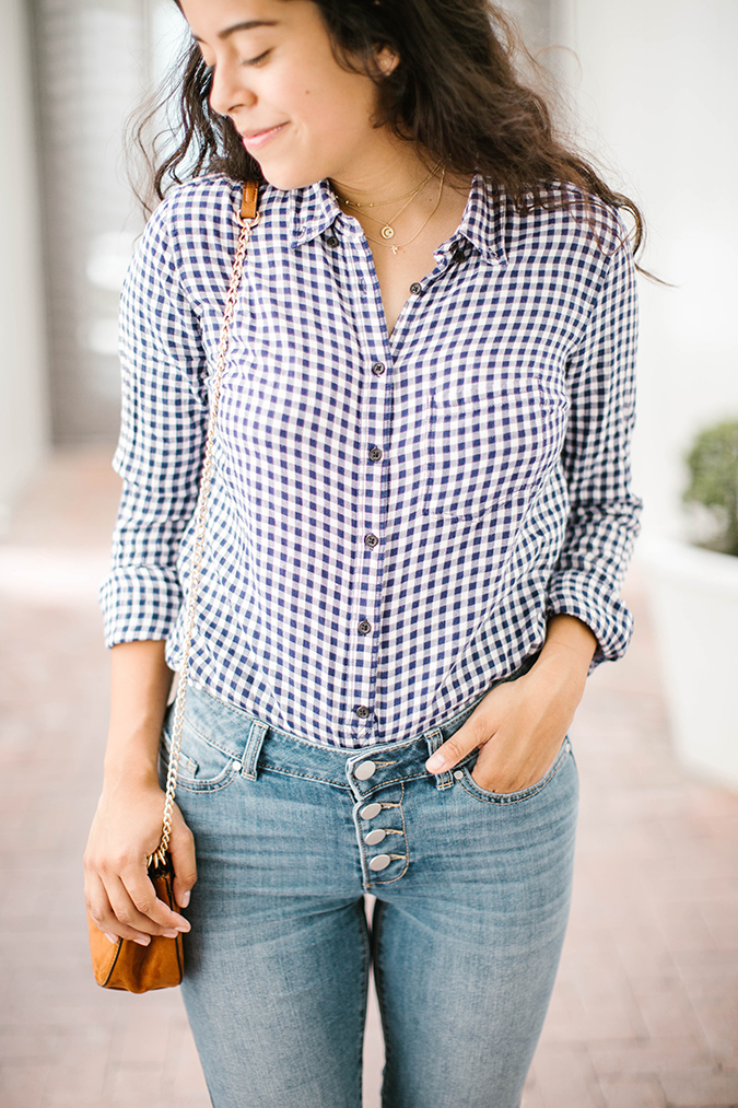 fall gingham and jeans via ThredUp