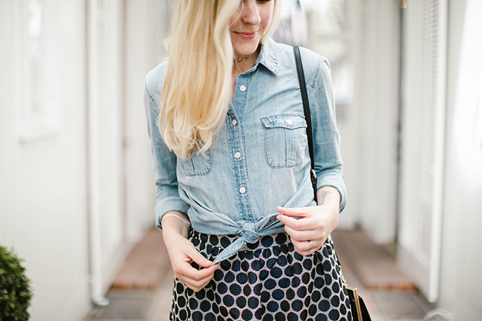 polka dot skirt & chambray top via ThredUp