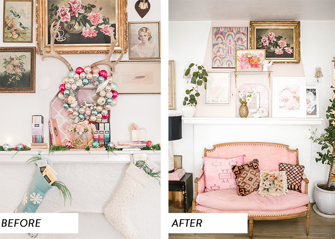 mantle makeover before and after