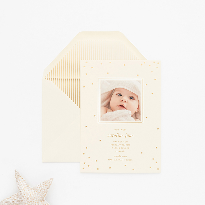 the perfect baby announcement with Sugar Paper