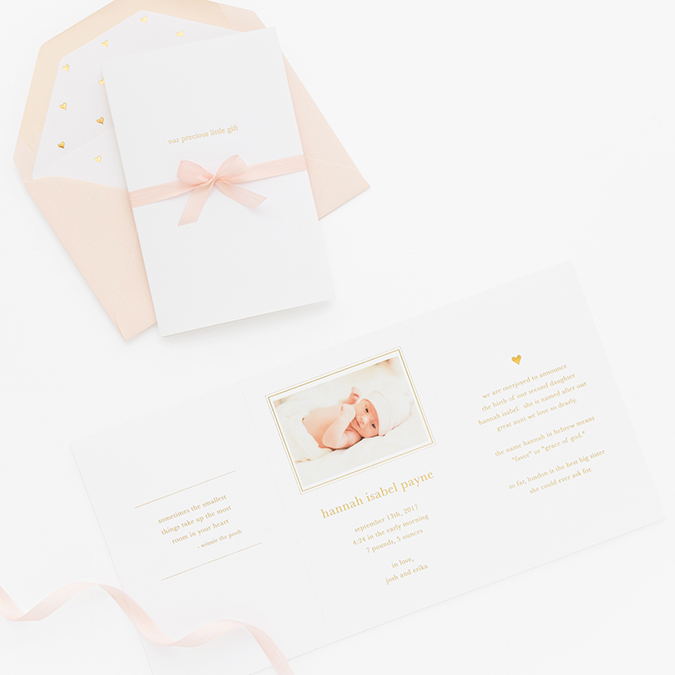 the perfect baby announcements with Sugar Paper