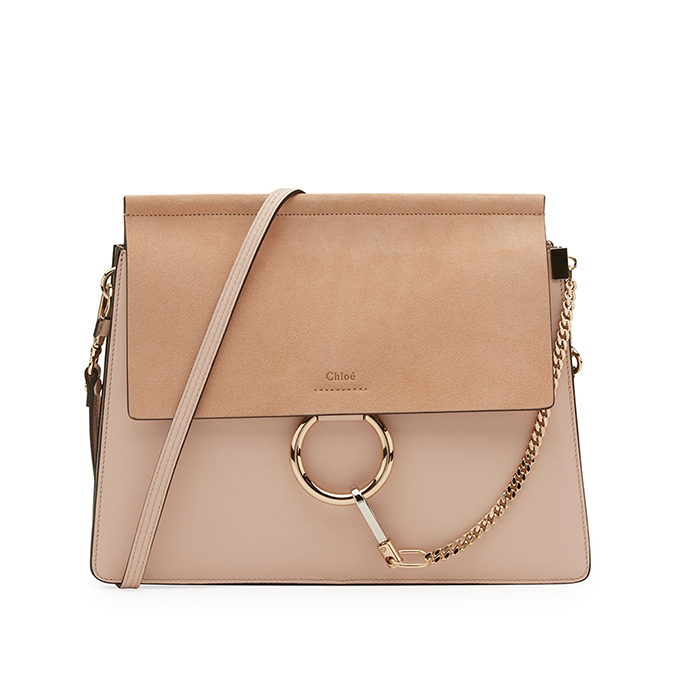 Chloe Faye Medium Leather And Suede Handbag
