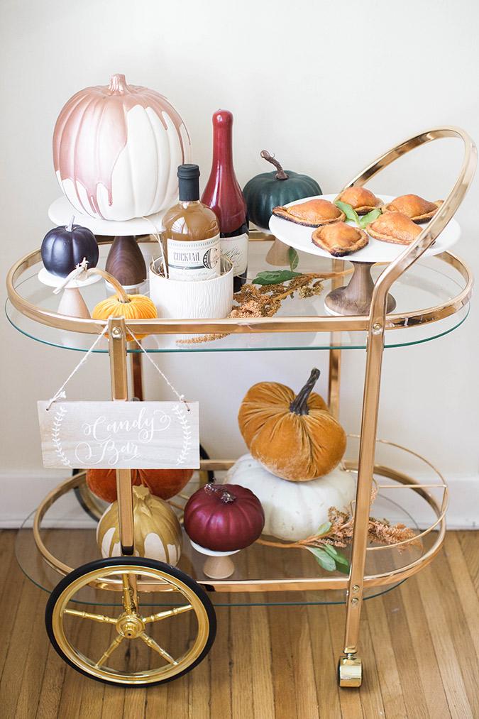 fall bar cart ideas via LaurenConrad.com