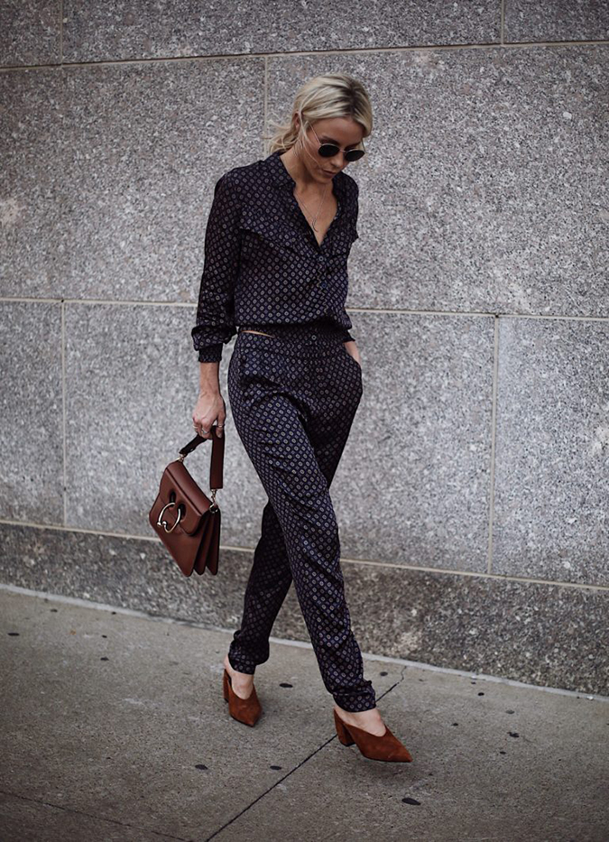 chic pajama trend via Happily Grey