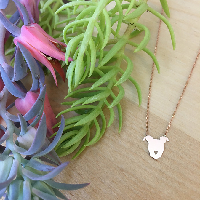 rose gold pittie love pendant by The Gentle Pit