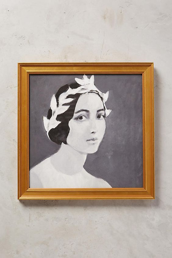 Anthropologie Young Lady Wall Art