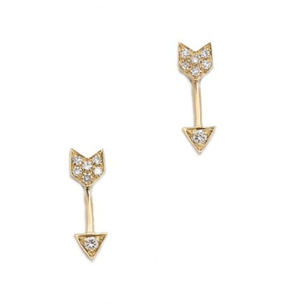 EF Collection Diamond Arrow Stud Earrings