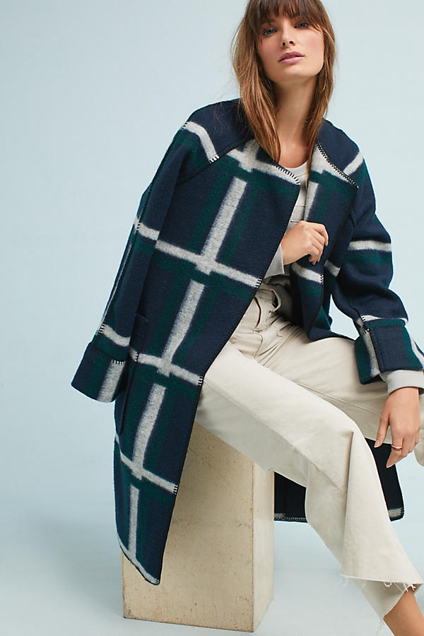 Anthropologie Check Coat