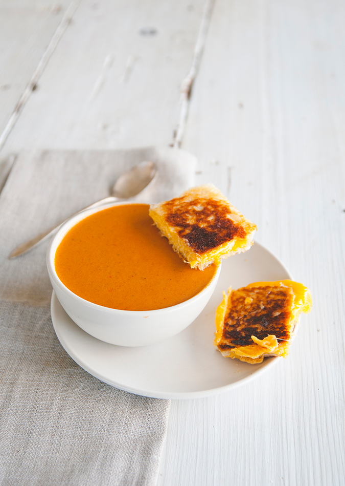 spicy tomato soup and grilled cheese on LaurenConrad.com