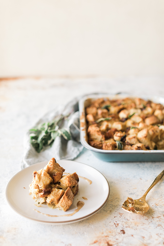 butternut squash bread pudding, savory recipe via LaurenConrad.com