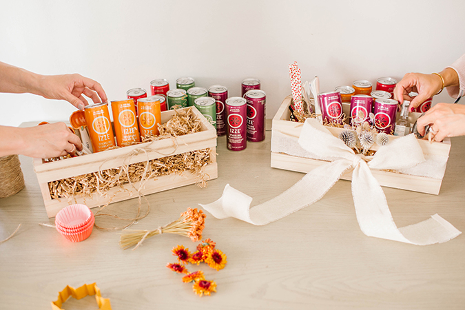 hostess gift boxes featuring IZZE