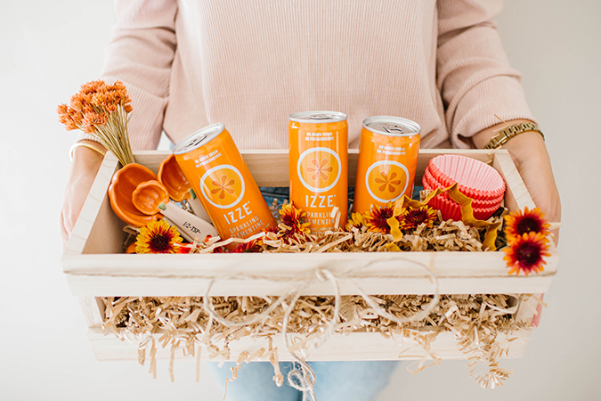 hostess gift box featuring IZZE drinks