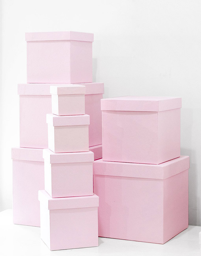 The Little Market blush gift boxes