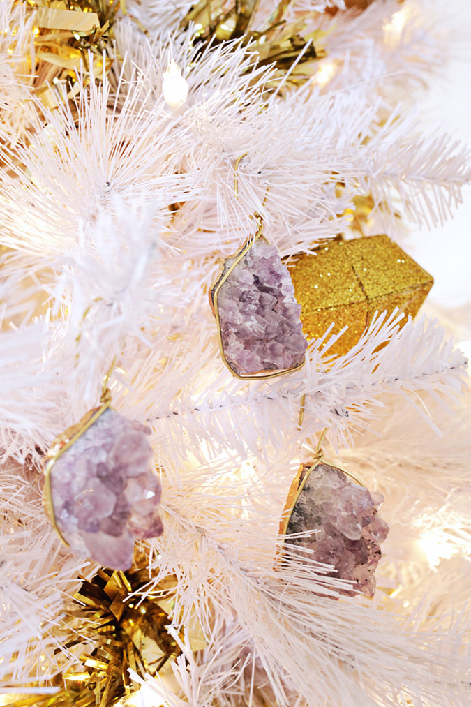 homemade geode ornaments via A Beautiful Mess