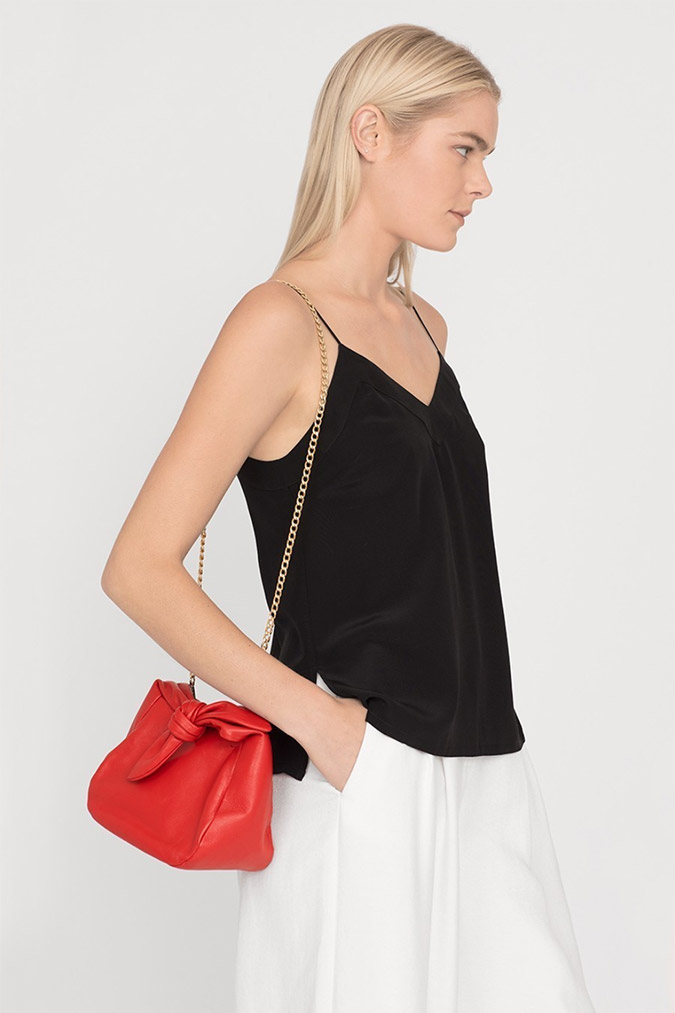 Cuyana red leather mini bow bag