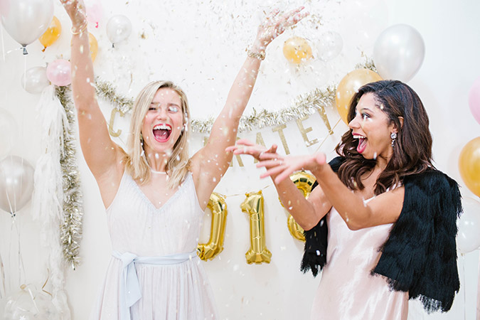 DIY backdrop for New Year's Eve on LaurenConrad.com