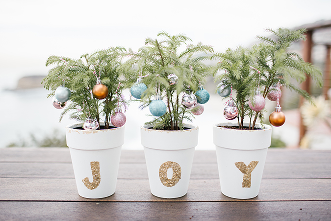 DIY painted pots with mini trees