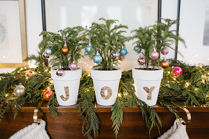 DIY gold leaf pots with mini Christmas trees