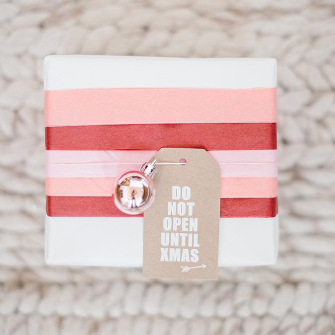 DIY tissue paper gift wrap via LaurenConrad.com
