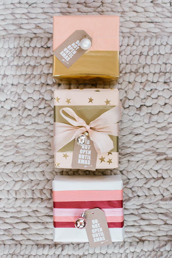 DIY tissue paper gift wrap on LaurenConrad.com