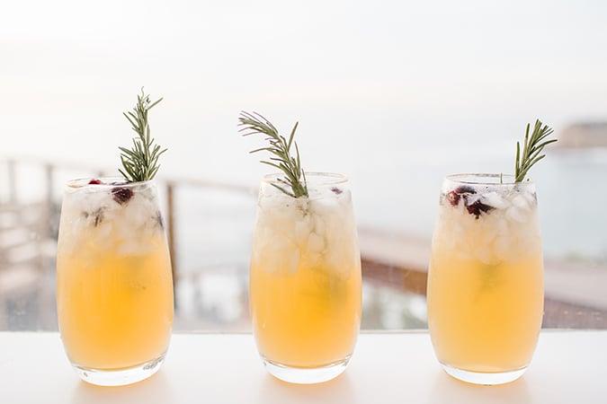 sparkling pear rosemary cocktail recipe on LaurenConrad.com