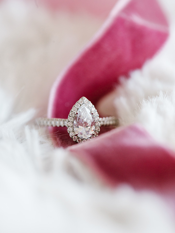 stunning pear shaped engagement ring by James Allen