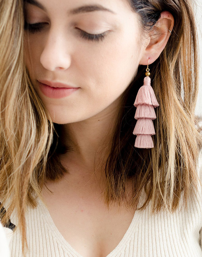 the little market tassel drop earrings