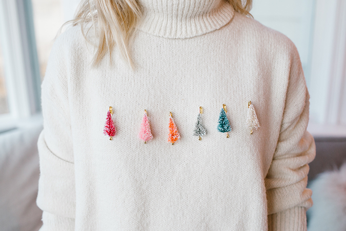 DIY bottle brush tree sweater for the holidays