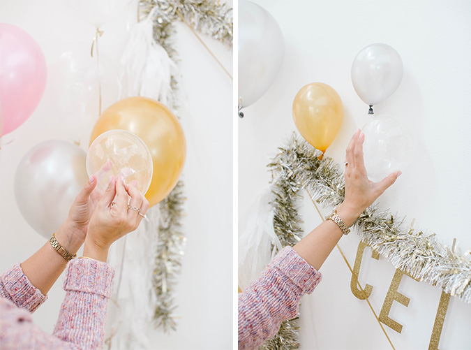 making our NYE backdrop with Balloon Time