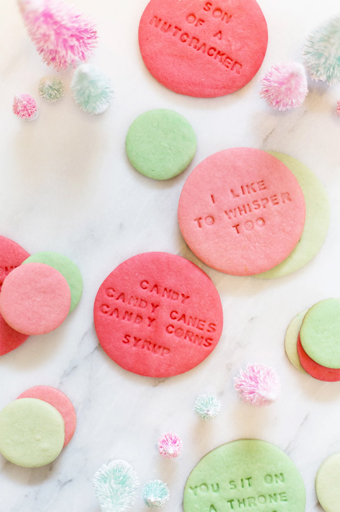 Elf inspired quote cookies via Lovely Indeed