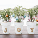 Inspired Idea: Mini Trees with DIY Gold Leaf Terra Cotta Pots