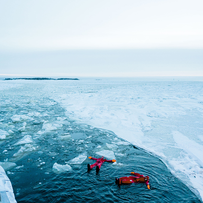 floating in the Arctic Sea
