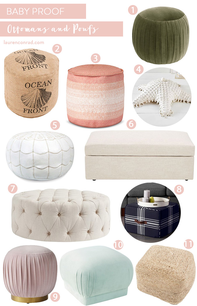 baby-proof ottomans and poufs on LaurenConrad.com